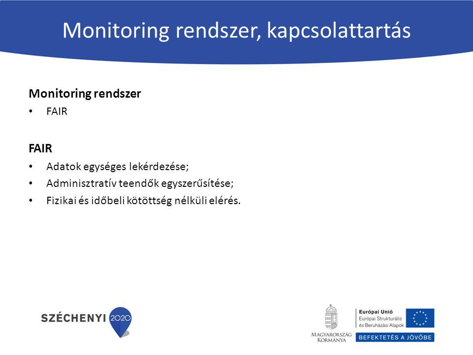 Monitoring rendszer, kapcsolattartás Monitoring rendszer FAIR Adatok egységes lekérdezése; Adminisztratív teendők egyszerűsítése; Fizikai és időbeli k