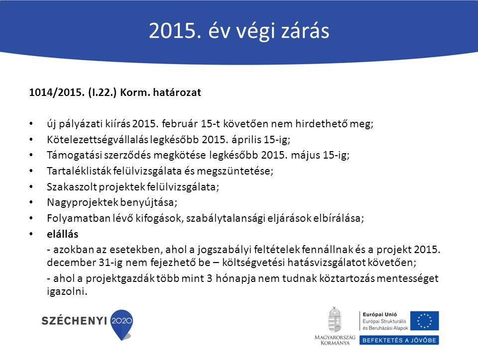 2015. év végi zárás 1014/2015. (I.22.) Korm. határozat új pályázati kiírás 2015. február 15-t követően nem hirdethető meg; Kötelezettségvállalás legké