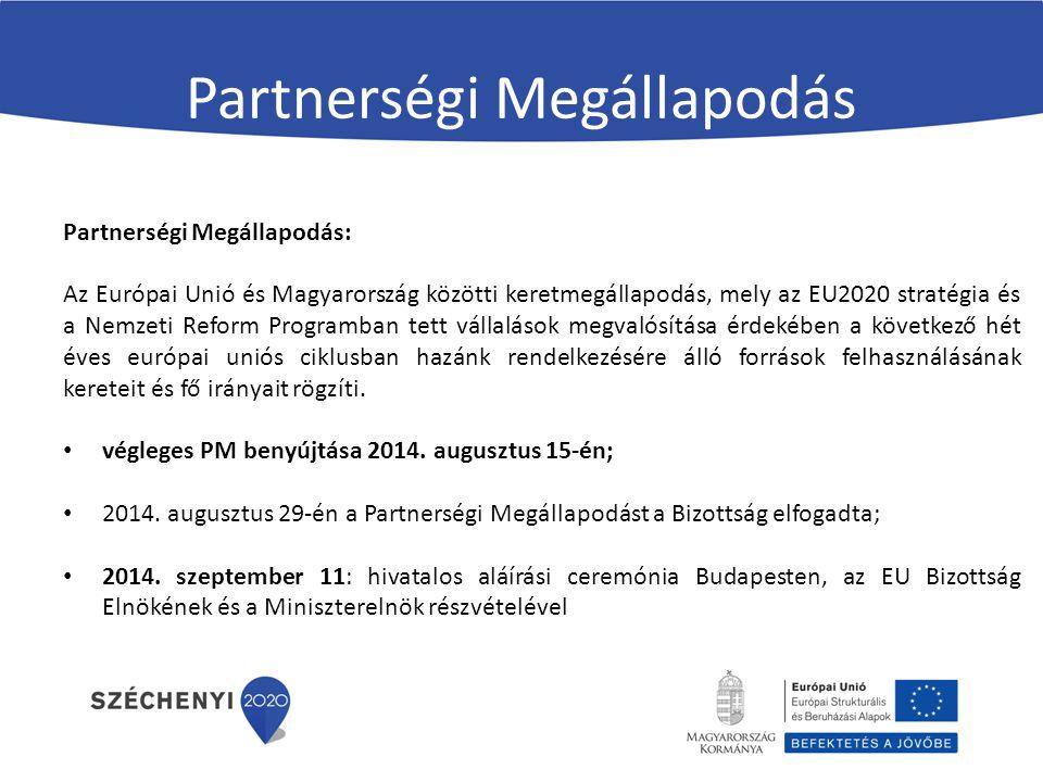 Partnerségi Megállapodás Partnerségi Megállapodás: Az Európai Unió és Magyarország közötti keretmegállapodás, mely az EU2020 stratégia és a Nemzeti Re