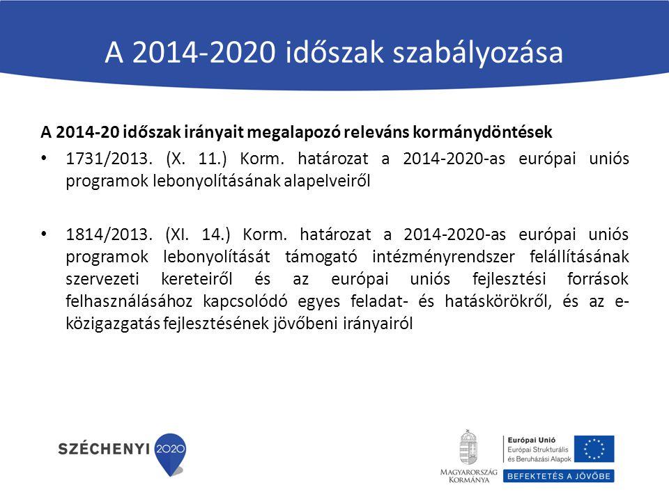 A 2014-2020 időszak szabályozása A 2014-20 időszak irányait megalapozó releváns kormánydöntések 1731/2013. (X. 11.) Korm. határozat a 2014-2020-as eur
