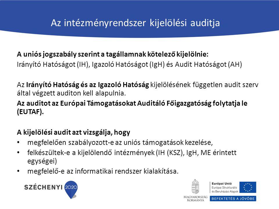 Az intézményrendszer kijelölési auditja A uniós jogszabály szerint a tagállamnak kötelező kijelölnie: Irányító Hatóságot (IH), Igazoló Hatóságot (IgH)