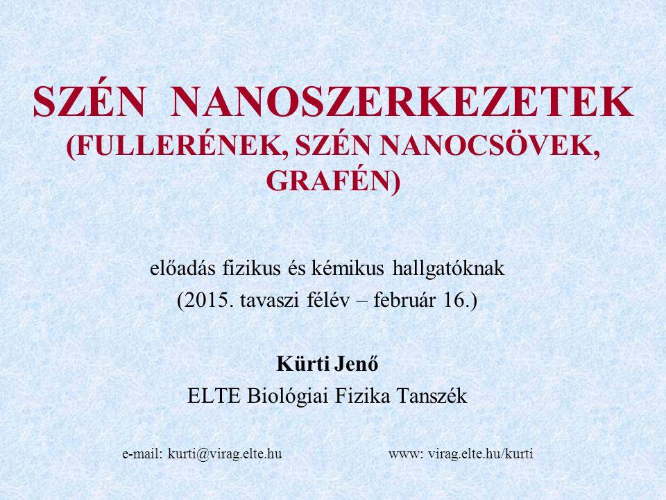 SZÉN NANOSZERKEZETEK (FULLERÉNEK, SZÉN NANOCSÖVEK, GRAFÉN) előadás fizikus és kémikus hallgatóknak (2015.