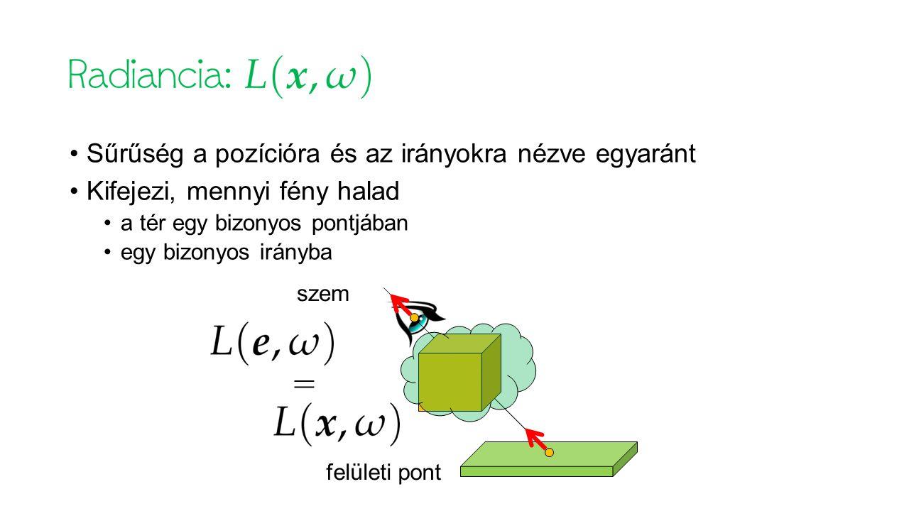 Sűrűség a pozícióra és az irányokra nézve egyaránt Kifejezi, mennyi fény halad a tér egy bizonyos pontjában egy bizonyos irányba = szem felületi pont