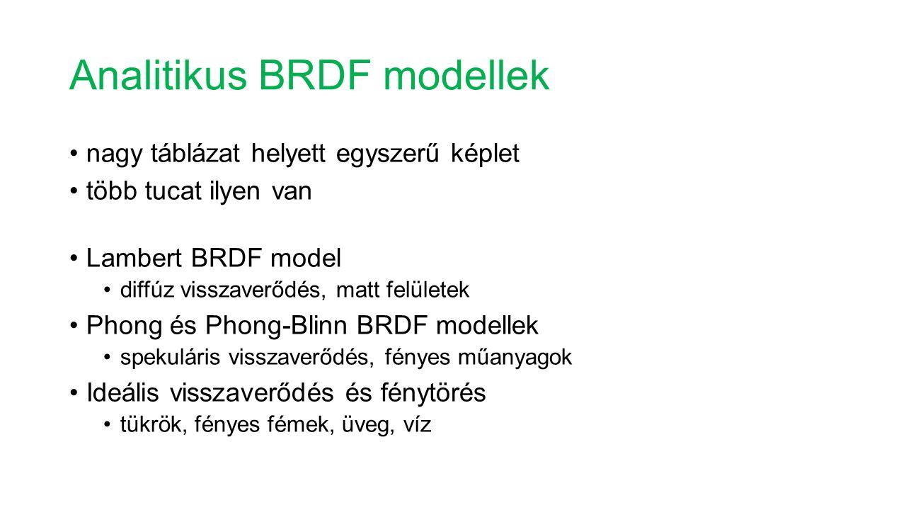 Analitikus BRDF modellek nagy táblázat helyett egyszerű képlet több tucat ilyen van Lambert BRDF model diffúz visszaverődés, matt felületek Phong és P