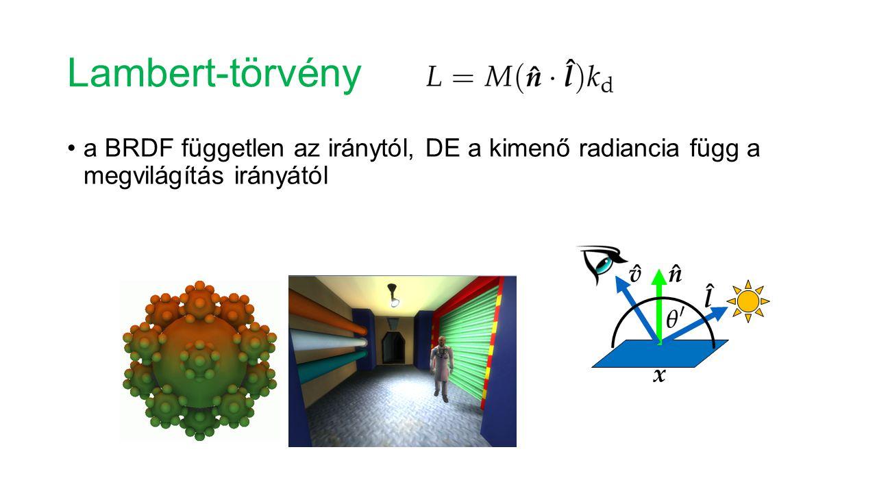 Lambert-törvény a BRDF független az iránytól, DE a kimenő radiancia függ a megvilágítás irányától