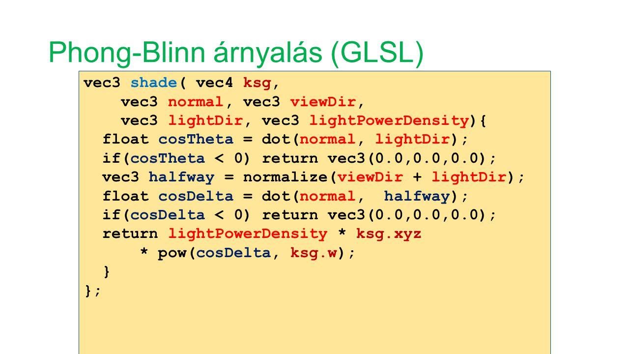 Phong-Blinn árnyalás (GLSL) vec3 shade( vec4 ksg, vec3 normal, vec3 viewDir, vec3 lightDir, vec3 lightPowerDensity){ float cosTheta = dot(normal, ligh