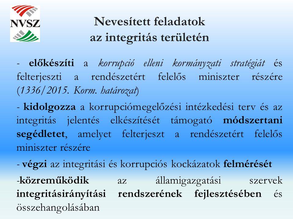 Nevesített feladatok az integritás területén - előkészíti a korrupció elleni kormányzati stratégiát és felterjeszti a rendészetért felelős miniszter r