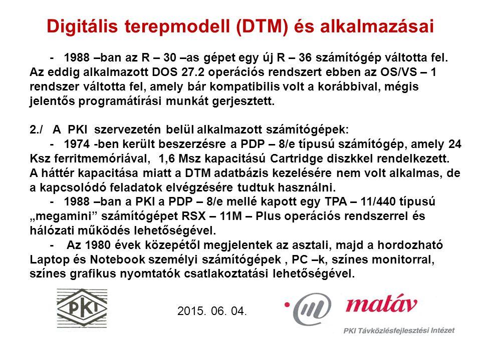 Digitális terepmodell (DTM) és alkalmazásai 2015.06.