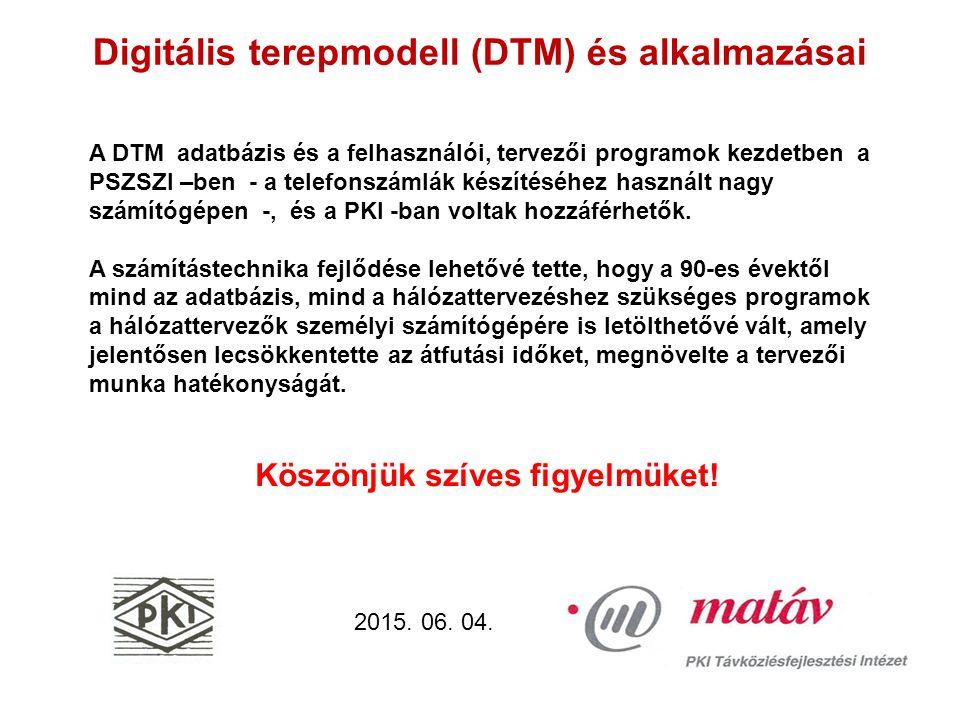 Digitális terepmodell (DTM) és alkalmazásai 2015. 06.