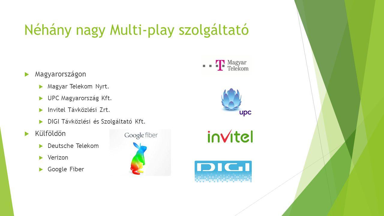 Néhány nagy Multi-play szolgáltató  Magyarországon  Magyar Telekom Nyrt.  UPC Magyarország Kft.  Invitel Távközlési Zrt.  DIGI Távközlési és Szol