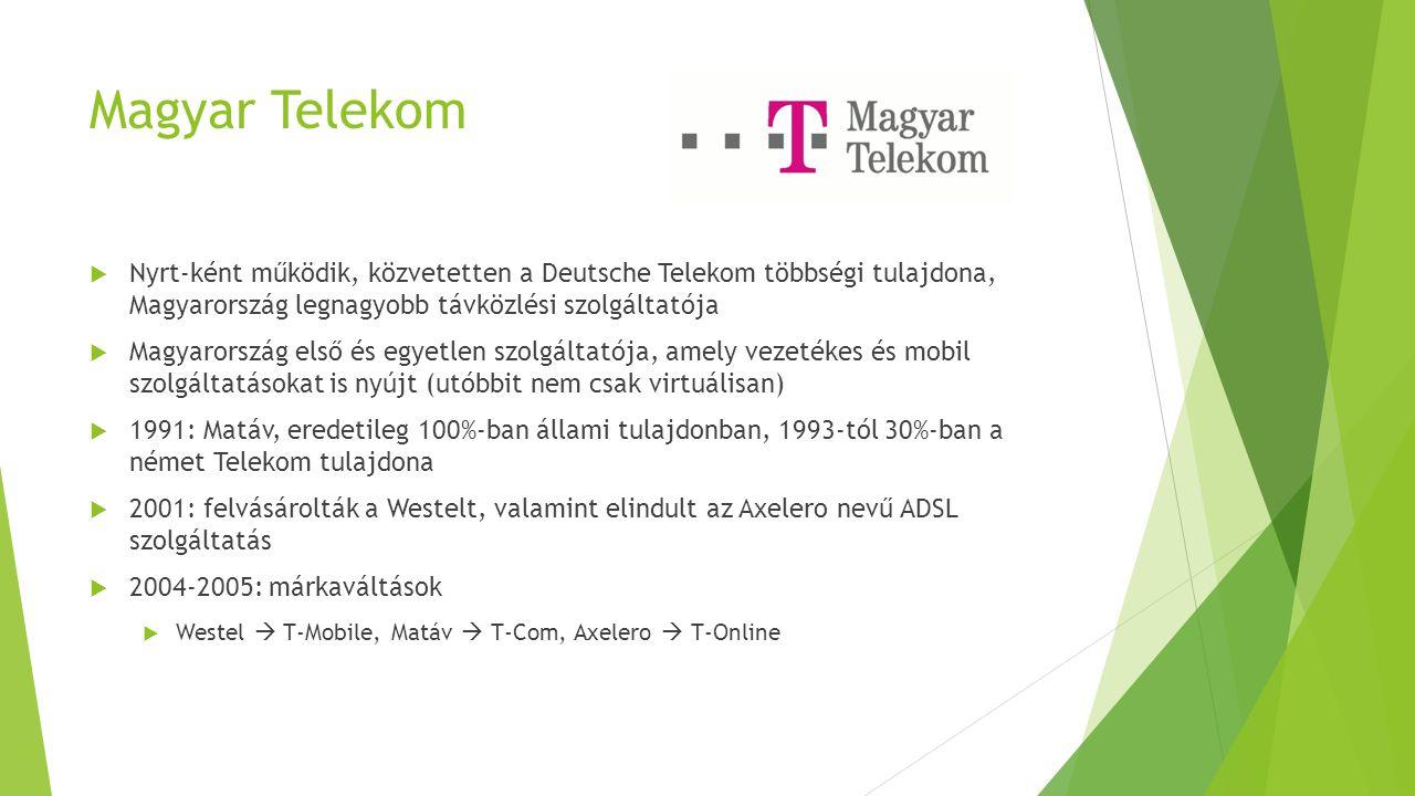 Magyar Telekom  Nyrt-ként működik, közvetetten a Deutsche Telekom többségi tulajdona, Magyarország legnagyobb távközlési szolgáltatója  Magyarország