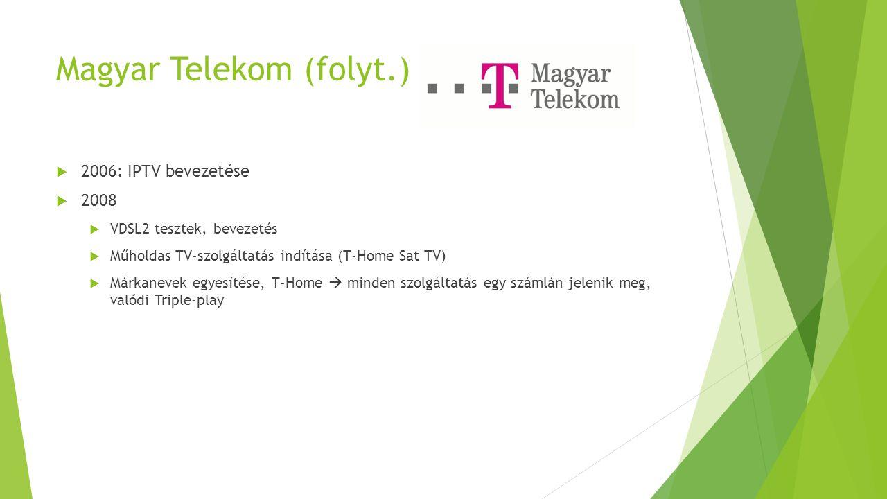 Magyar Telekom (folyt.)  2006: IPTV bevezetése  2008  VDSL2 tesztek, bevezetés  Műholdas TV-szolgáltatás indítása (T-Home Sat TV)  Márkanevek egy