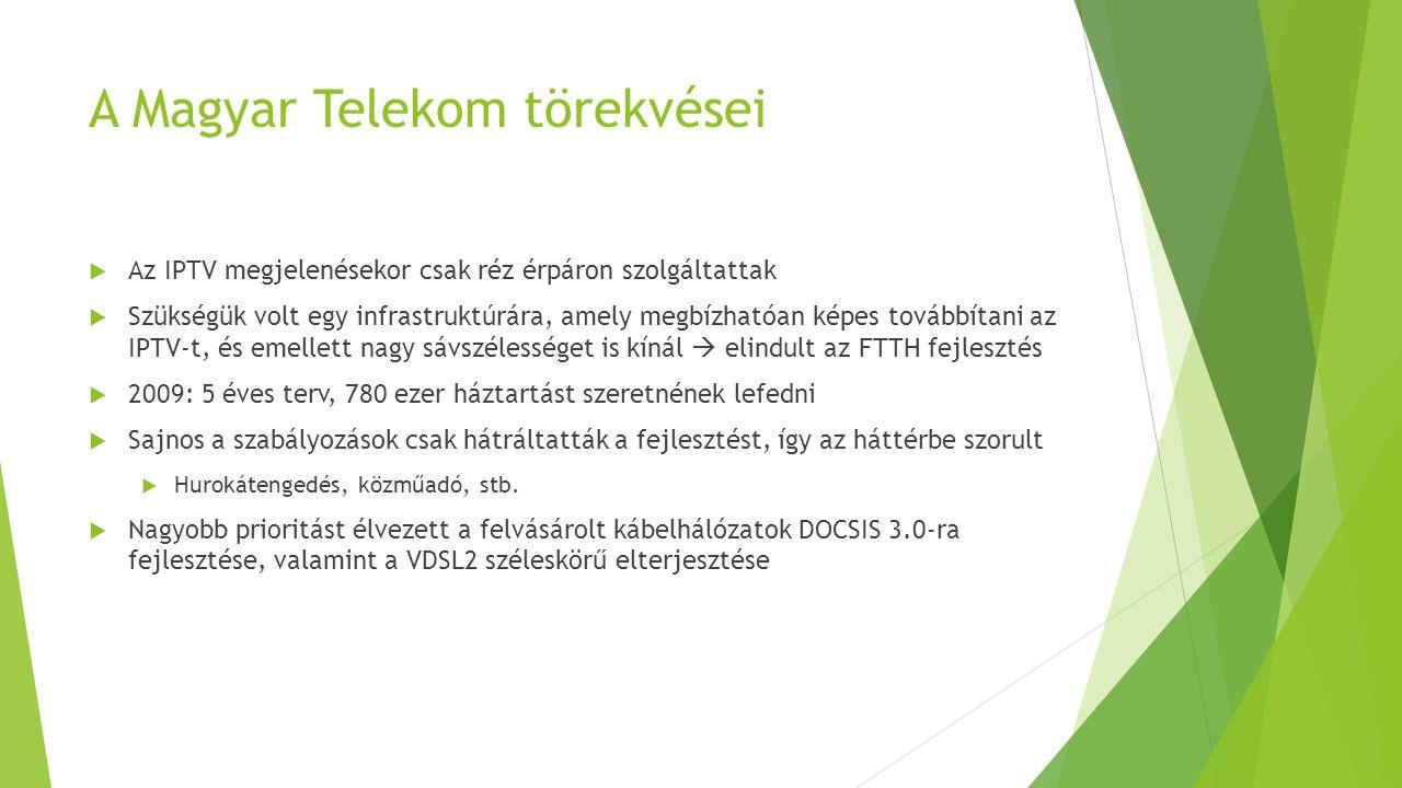A Magyar Telekom törekvései  Az IPTV megjelenésekor csak réz érpáron szolgáltattak  Szükségük volt egy infrastruktúrára, amely megbízhatóan képes to
