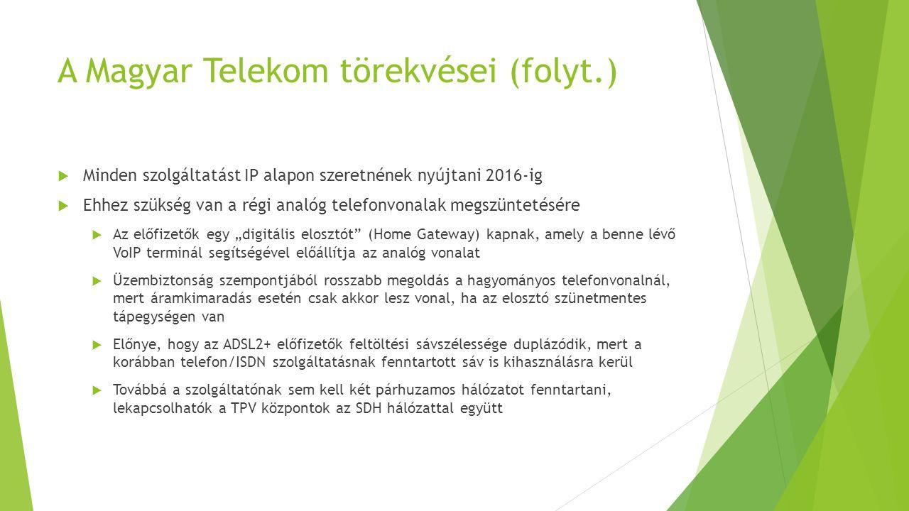 A Magyar Telekom törekvései (folyt.)  Minden szolgáltatást IP alapon szeretnének nyújtani 2016-ig  Ehhez szükség van a régi analóg telefonvonalak me