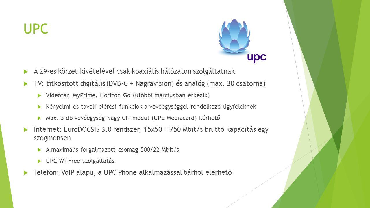UPC  A 29-es körzet kivételével csak koaxiális hálózaton szolgáltatnak  TV: titkosított digitális (DVB-C + Nagravision) és analóg (max. 30 csatorna)
