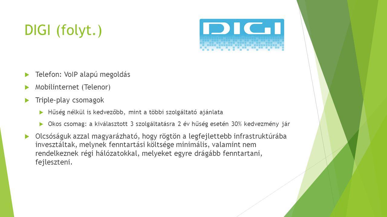 DIGI (folyt.)  Telefon: VoIP alapú megoldás  Mobilinternet (Telenor)  Triple-play csomagok  Hűség nélkül is kedvezőbb, mint a többi szolgáltató aj