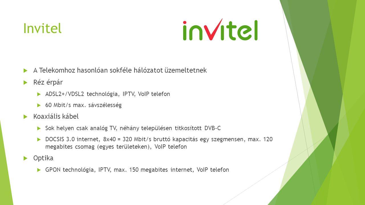 Invitel  A Telekomhoz hasonlóan sokféle hálózatot üzemeltetnek  Réz érpár  ADSL2+/VDSL2 technológia, IPTV, VoIP telefon  60 Mbit/s max. sávszéless
