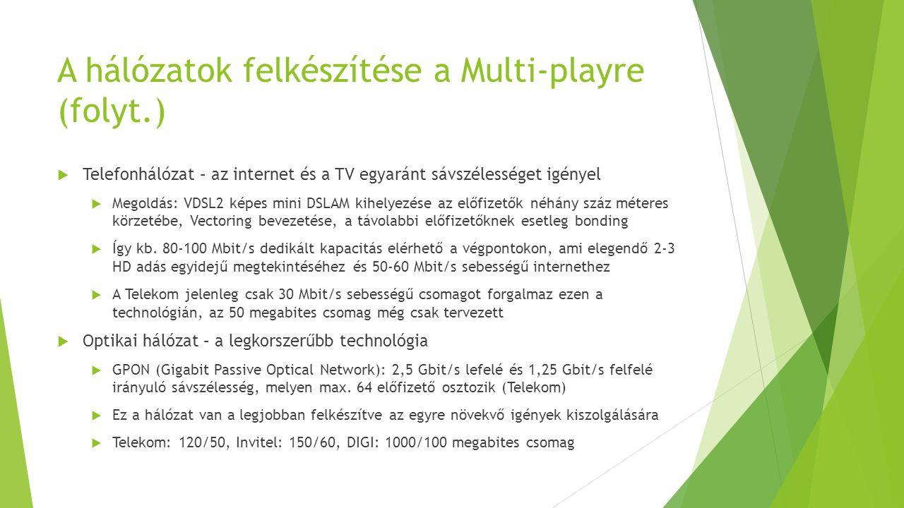 A hálózatok felkészítése a Multi-playre (folyt.)  Telefonhálózat – az internet és a TV egyaránt sávszélességet igényel  Megoldás: VDSL2 képes mini D