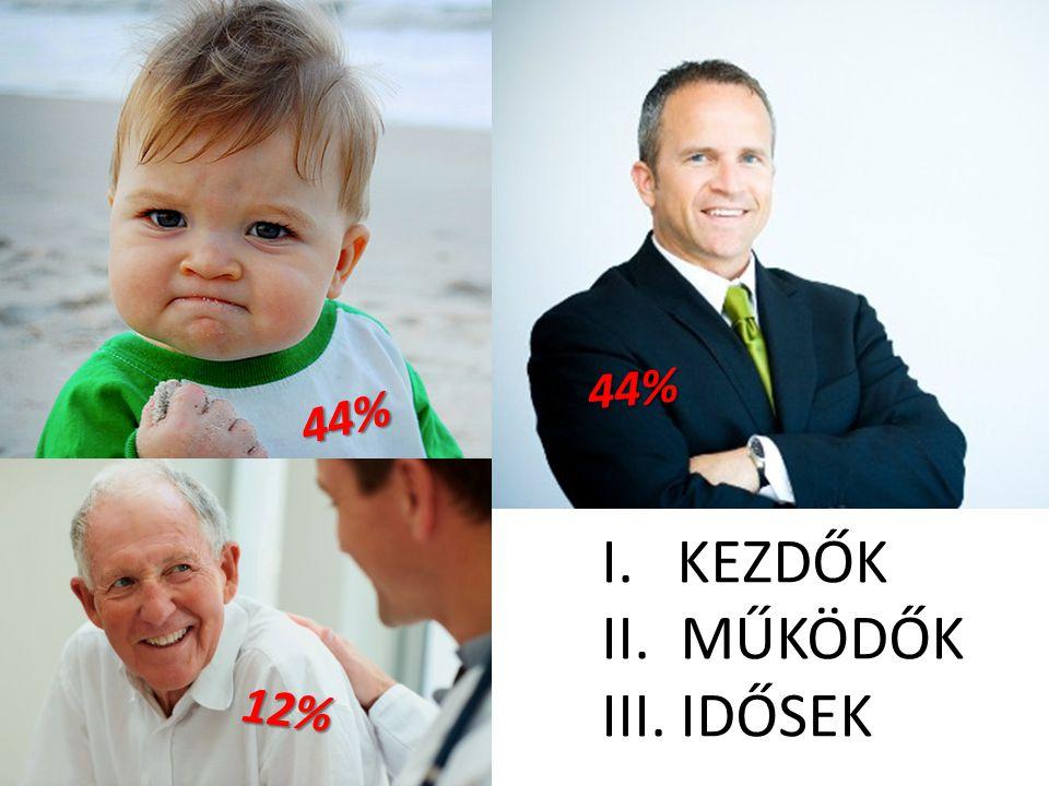 ÜGYFELEINK I. KEZDŐK II. MŰKÖDŐK III. IDŐSEK 44% 44% 12%