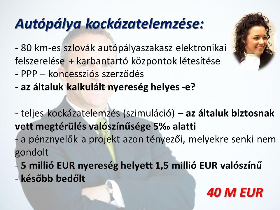 Autópálya kockázatelemzése: - 80 km-es szlovák autópályaszakasz elektronikai felszerelése + karbantartó központok létesítése - PPP – koncessziós szerződés - az általuk kalkulált nyereség helyes -e.