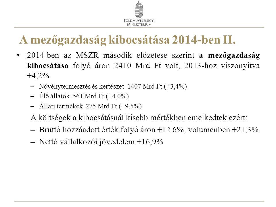 A mezőgazdaság kibocsátása 2014-ben II. 2014-ben az MSZR második előzetese szerint a mezőgazdaság kibocsátása folyó áron 2410 Mrd Ft volt, 2013-hoz vi