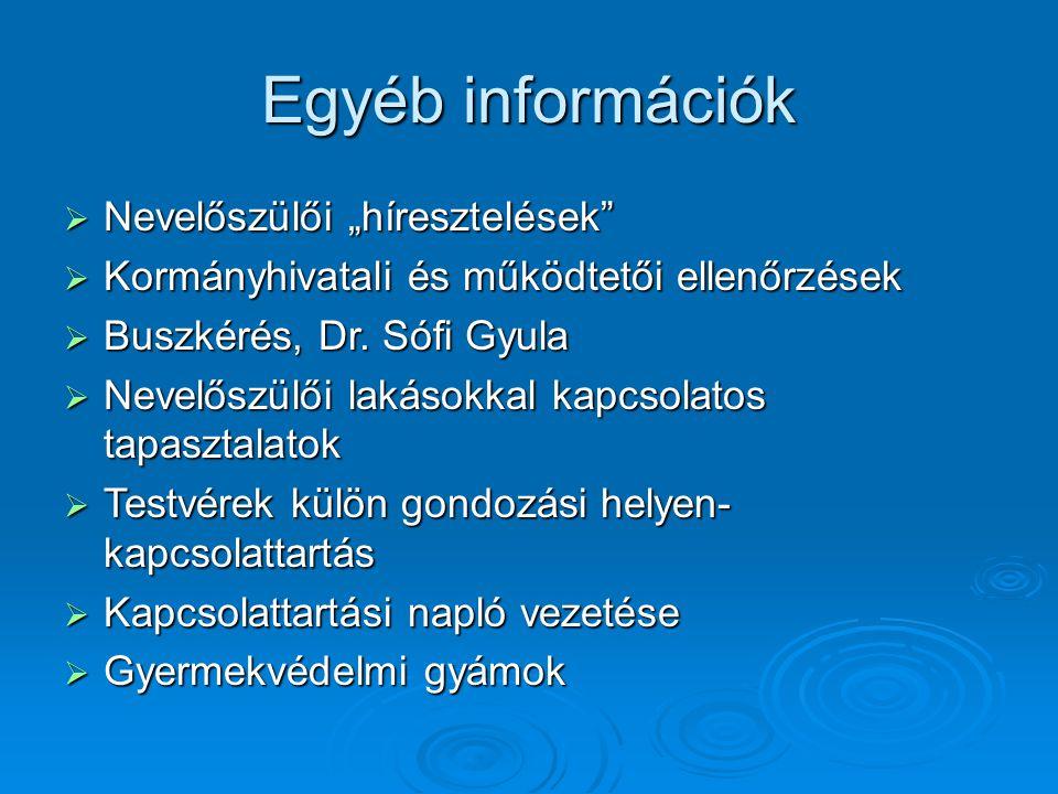 """Egyéb információk  Nevelőszülői """"híresztelések""""  Kormányhivatali és működtetői ellenőrzések  Buszkérés, Dr. Sófi Gyula  Nevelőszülői lakásokkal ka"""