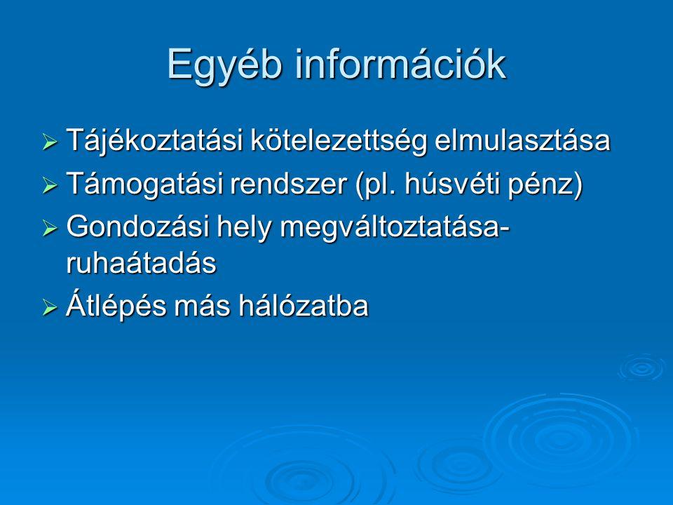 Egyéb információk  Tájékoztatási kötelezettség elmulasztása  Támogatási rendszer (pl. húsvéti pénz)  Gondozási hely megváltoztatása- ruhaátadás  Á