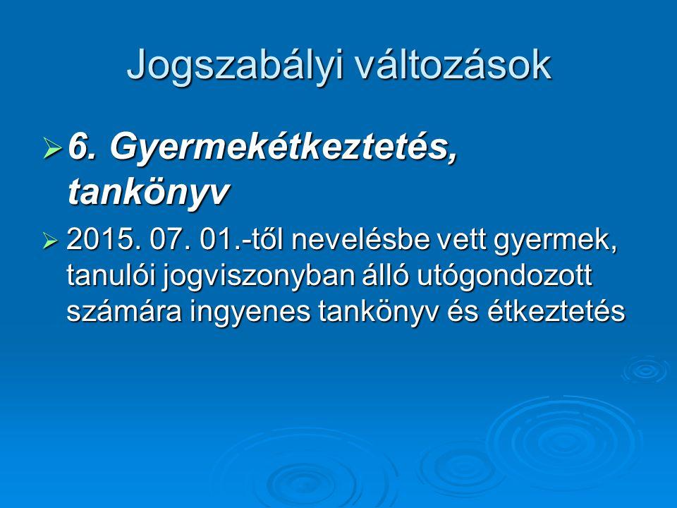 Jogszabályi változások  6. Gyermekétkeztetés, tankönyv  2015. 07. 01.-től nevelésbe vett gyermek, tanulói jogviszonyban álló utógondozott számára in