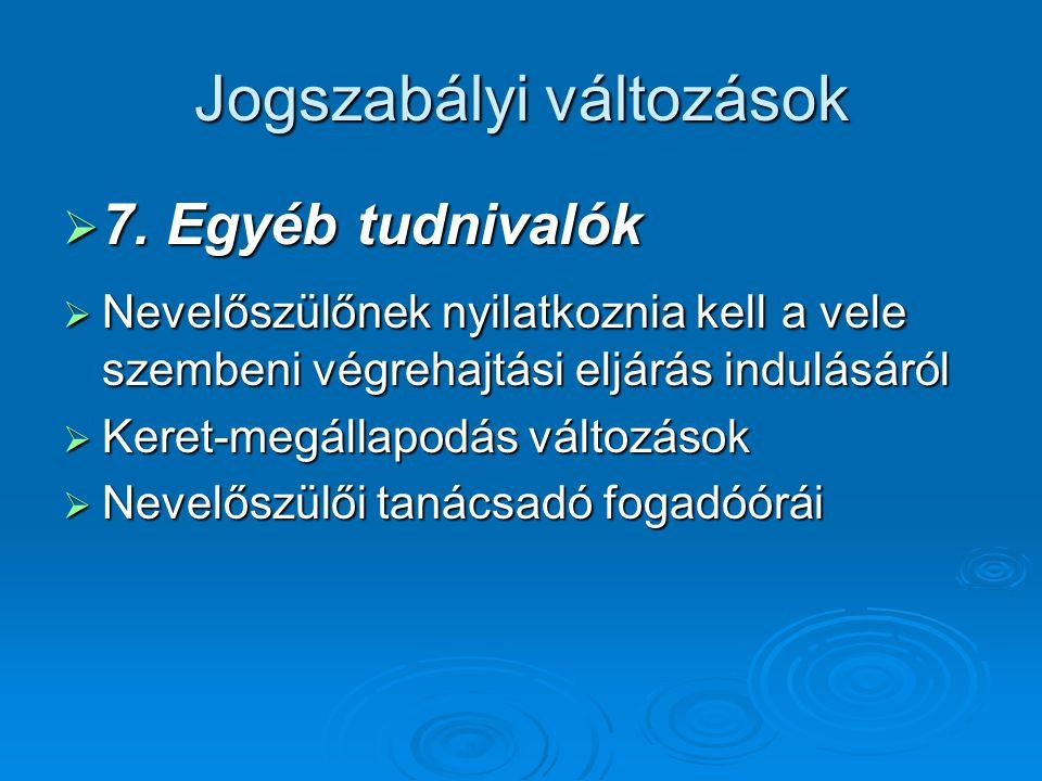 Jogszabályi változások  7.