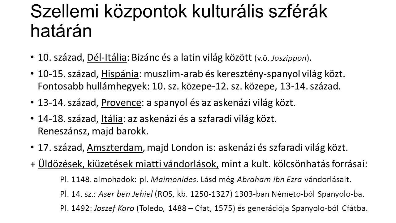 Szellemi központok kulturális szférák határán 10. század, Dél-Itália: Bizánc és a latin világ között (v.ö. Joszippon). 10-15. század, Hispánia: muszli