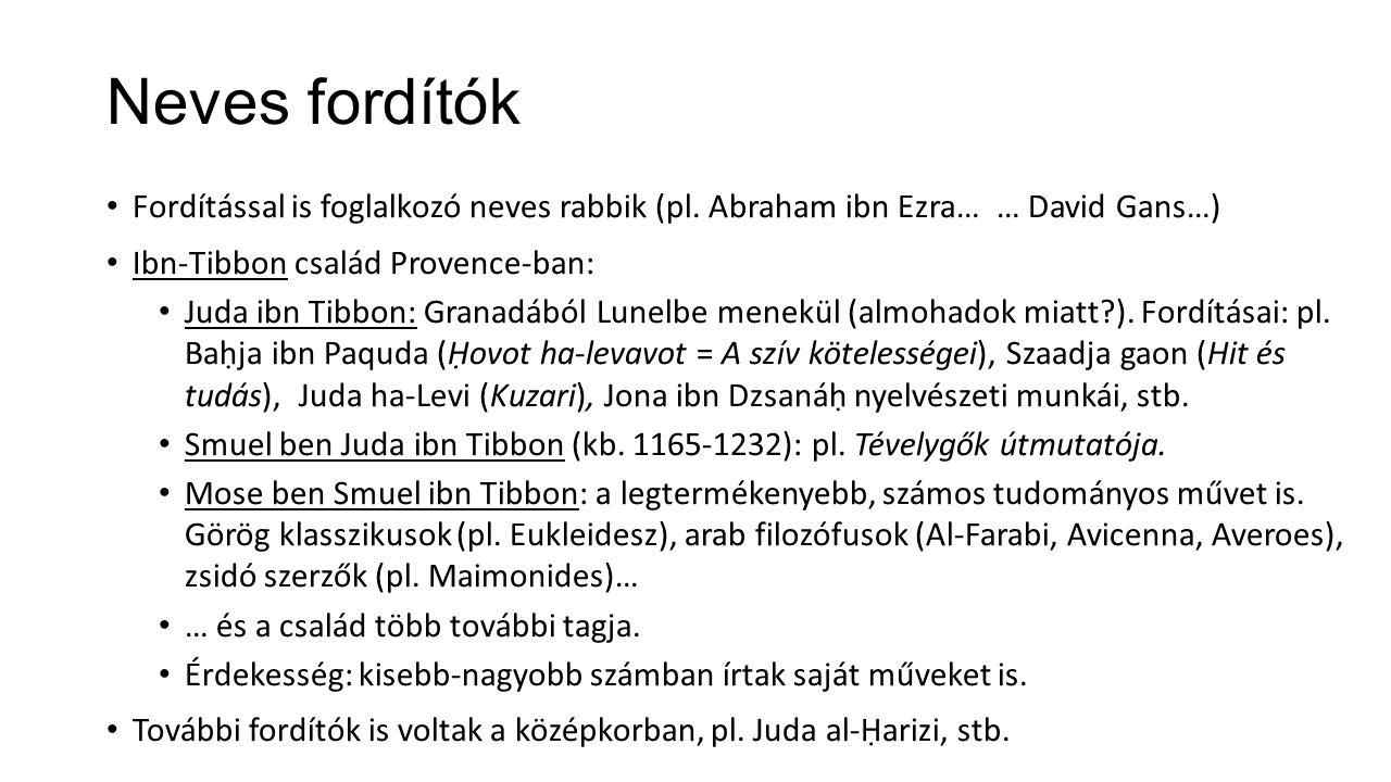 Neves fordítók Fordítással is foglalkozó neves rabbik (pl. Abraham ibn Ezra… … David Gans…) Ibn-Tibbon család Provence-ban: Juda ibn Tibbon: Granadábó