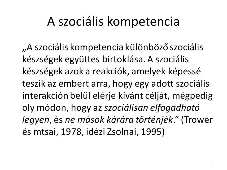 """A szociális kompetencia """"A szociális kompetencia különböző szociális készségek együttes birtoklása. A szociális készségek azok a reakciók, amelyek kép"""