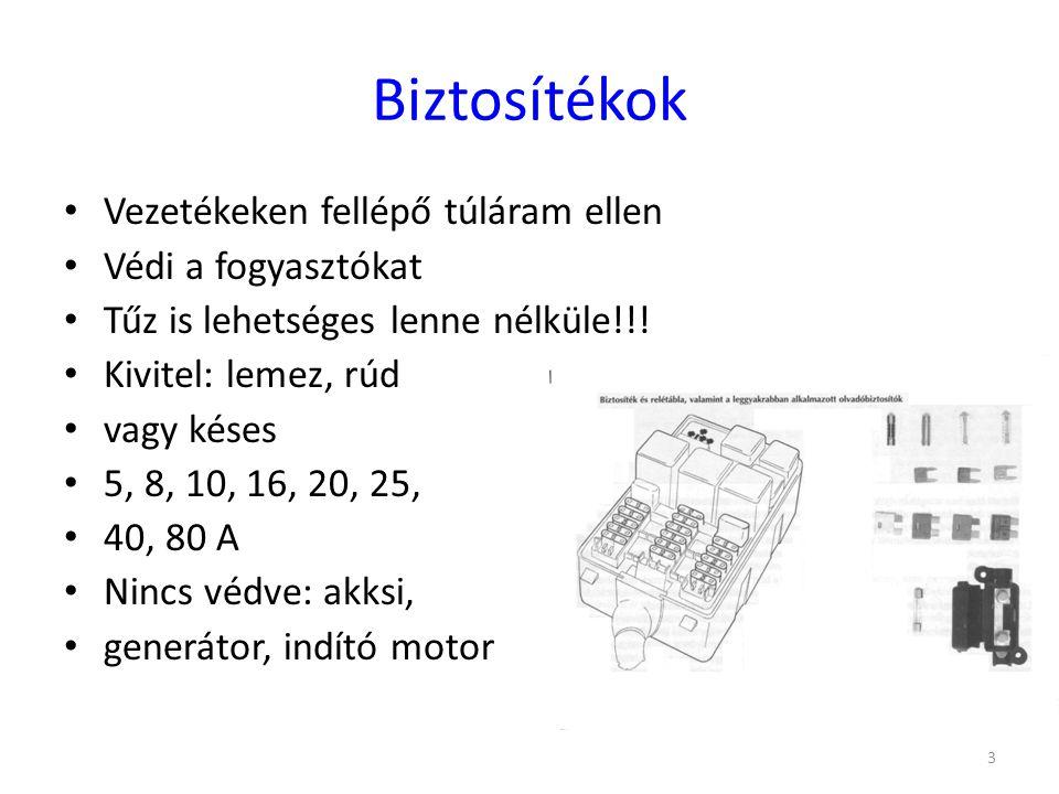 34 Fogyasztók csoportosítása Folyamatos üzeműek (gyújtás(28 W), üzemanyag szivattyú(60 W), műszerek(10 W), befecskendezés(80 W)) Szakaszosan üzemelnek (lámpák?(100 W), rádió (20 W), ablaktörlő(60 W), hűtés-fűtés(80 W)) Rövid ideig üzemelnek (indítómotor(1800 W), kürt(40 W), ablakmosó(20 W), szivargyújtó?(100 W), hátramenet lámpa(10 W), belső világítás(10 W))
