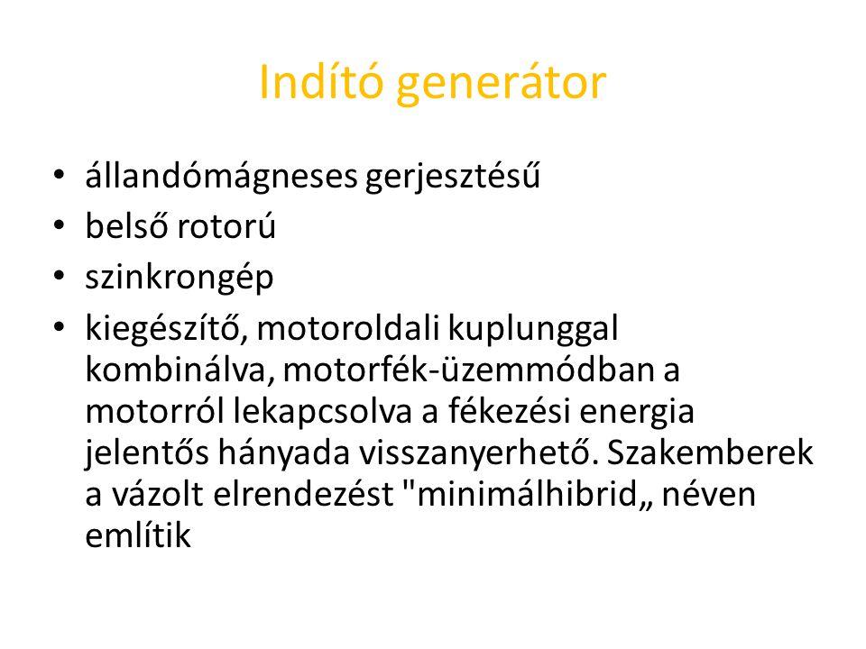 Indító generátor állandómágneses gerjesztésű belső rotorú szinkrongép kiegészítő, motoroldali kuplunggal kombinálva, motorfék ‑ üzemmódban a motorról lekapcsolva a fékezési energia jelentős hányada visszanyerhető.