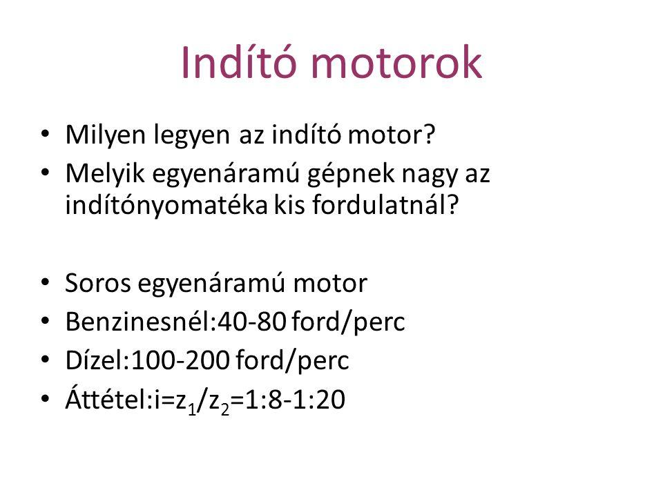 Indító motorok Milyen legyen az indító motor.