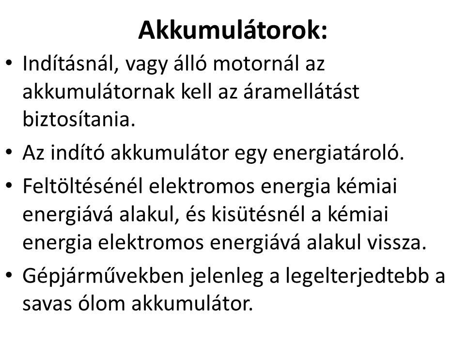 6 Akkumulátor működése U c =2 V Pb+2H 2 SO 4 +PbO 2 PbSO 4 +2H 2 O+PbSO 4 Kisütéskor elektrolit hígul Töltéskor sűrűbb lesz