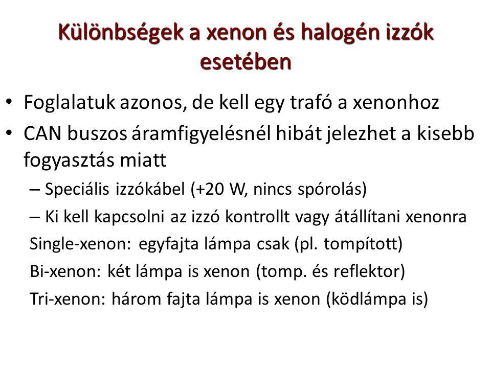 Különbségek a xenon és halogén izzók esetében Foglalatuk azonos, de kell egy trafó a xenonhoz CAN buszos áramfigyelésnél hibát jelezhet a kisebb fogyasztás miatt – Speciális izzókábel (+20 W, nincs spórolás) – Ki kell kapcsolni az izzó kontrollt vagy átállítani xenonra Single-xenon: egyfajta lámpa csak (pl.