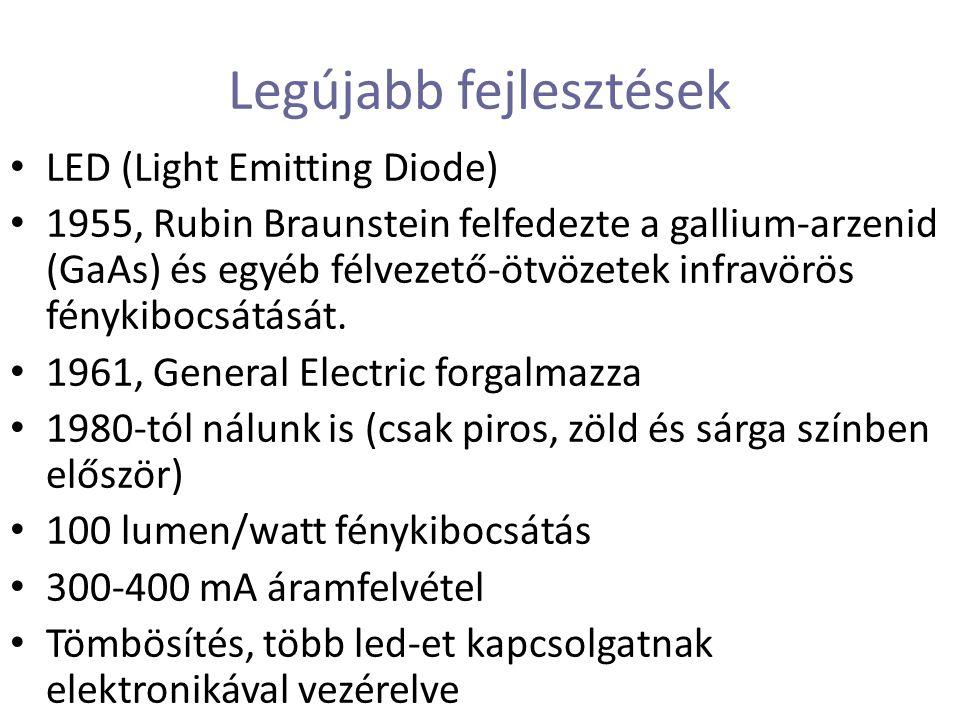 Legújabb fejlesztések LED (Light Emitting Diode) 1955, Rubin Braunstein felfedezte a gallium-arzenid (GaAs) és egyéb félvezető-ötvözetek infravörös fénykibocsátását.