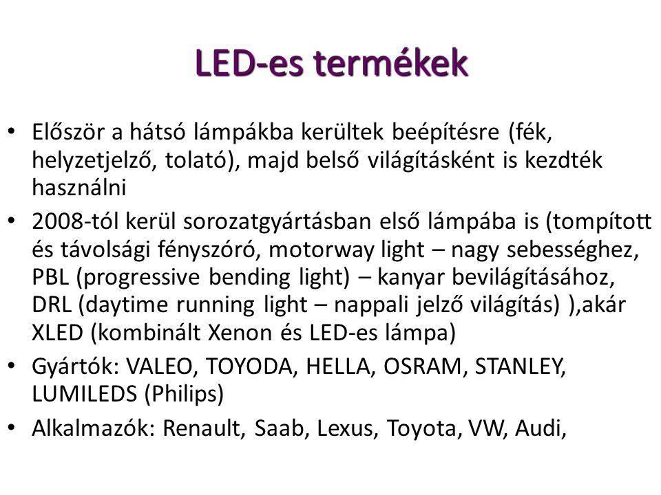 LED-es termékek Először a hátsó lámpákba kerültek beépítésre (fék, helyzetjelző, tolató), majd belső világításként is kezdték használni 2008-tól kerül sorozatgyártásban első lámpába is (tompított és távolsági fényszóró, motorway light – nagy sebességhez, PBL (progressive bending light) – kanyar bevilágításához, DRL (daytime running light – nappali jelző világítás) ),akár XLED (kombinált Xenon és LED-es lámpa) Gyártók: VALEO, TOYODA, HELLA, OSRAM, STANLEY, LUMILEDS (Philips) Alkalmazók: Renault, Saab, Lexus, Toyota, VW, Audi,