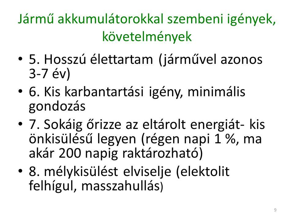 10 Jármű akkumulátorokkal szembeni igények, követelmények 9.