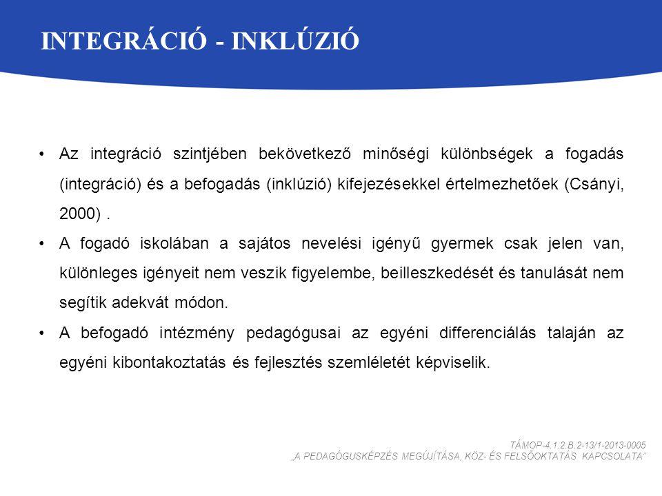 INTEGRÁCIÓ - INKLÚZIÓ Az integráció szintjében bekövetkező minőségi különbségek a fogadás (integráció) és a befogadás (inklúzió) kifejezésekkel értelmezhetőek (Csányi, 2000).
