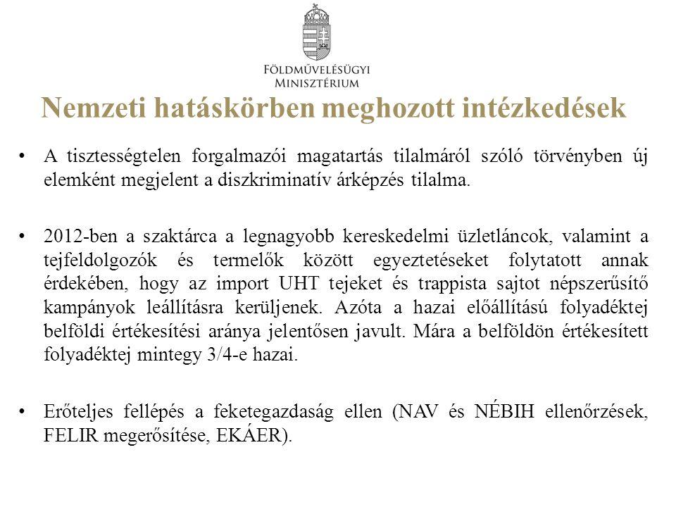 Nemzeti hatáskörben meghozott intézkedések A tisztességtelen forgalmazói magatartás tilalmáról szóló törvényben új elemként megjelent a diszkriminatív árképzés tilalma.
