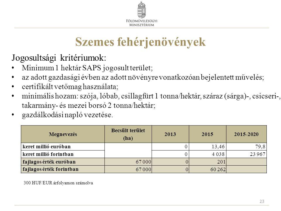 Szemes fehérjenövények Jogosultsági kritériumok: Minimum 1 hektár SAPS jogosult terület; az adott gazdasági évben az adott növényre vonatkozóan bejele