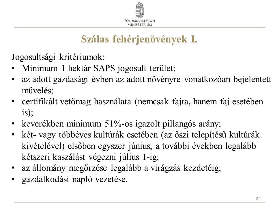 Szálas fehérjenövények I. Jogosultsági kritériumok: Minimum 1 hektár SAPS jogosult terület; az adott gazdasági évben az adott növényre vonatkozóan bej