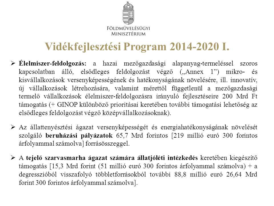 Vidékfejlesztési Program 2014-2020 I.  Élelmiszer-feldolgozás: a hazai mezőgazdasági alapanyag-termeléssel szoros kapcsolatban álló, elsődleges feldo