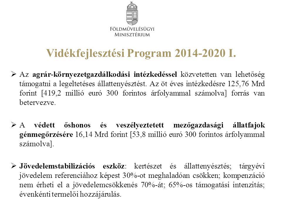 Vidékfejlesztési Program 2014-2020 I.  Az agrár-környezetgazdálkodási intézkedéssel közvetetten van lehetőség támogatni a legeltetéses állattenyészté