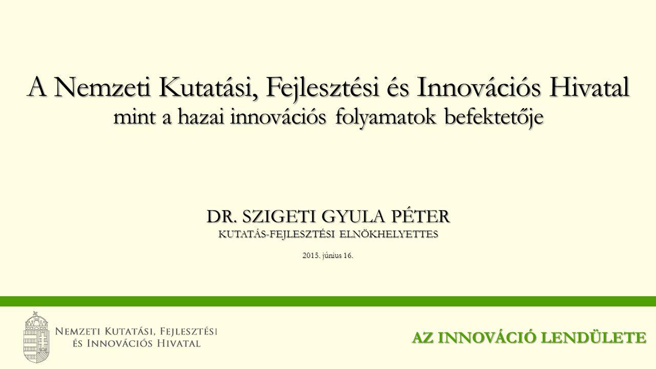 DR. SZIGETI GYULA PÉTER KUTATÁS-FEJLESZTÉSI ELNÖKHELYETTES 2015. június 16. A Nemzeti Kutatási, Fejlesztési és Innovációs Hivatal mint a hazai innovác