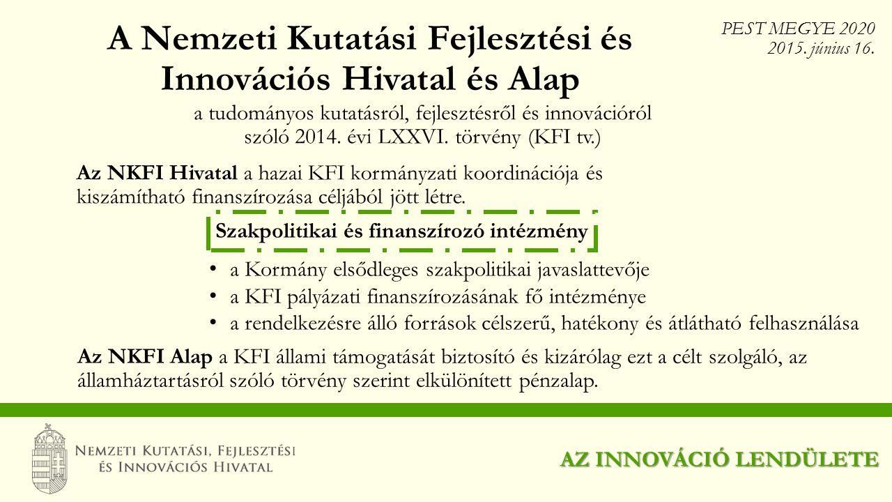 A Nemzeti Kutatási Fejlesztési és Innovációs Hivatal és Alap a tudományos kutatásról, fejlesztésről és innovációról szóló 2014. évi LXXVI. törvény (KF