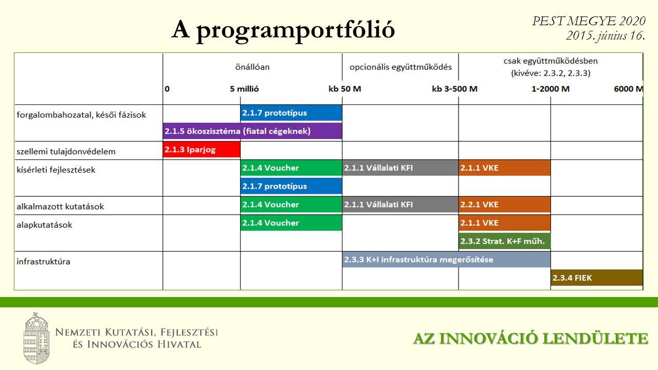 A programportfólió AZ INNOVÁCIÓ LENDÜLETE PEST MEGYE 2020 2015. június 16.