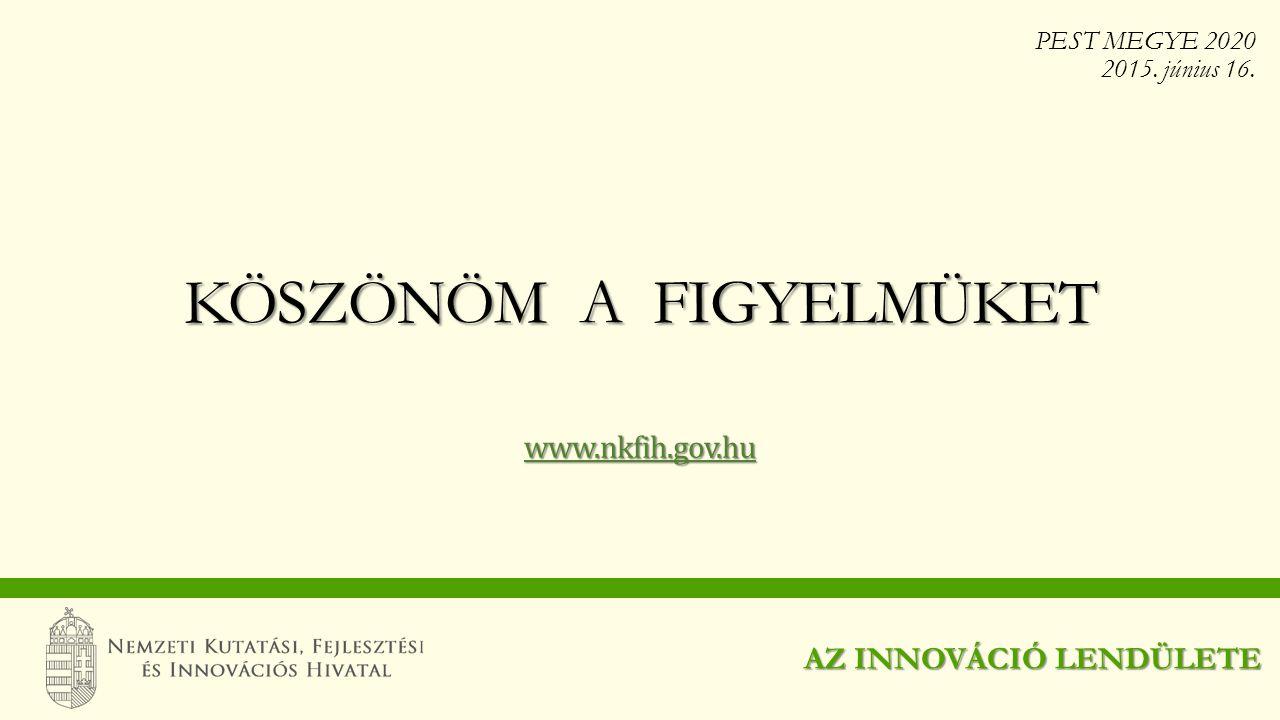 www.nkfih.gov.hu KÖSZÖNÖM A FIGYELMÜKET AZ INNOVÁCIÓ LENDÜLETE PEST MEGYE 2020 2015. június 16.